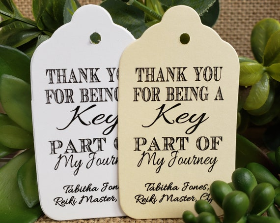 "Thank you for being a key part of My Journey (my MEDIUM tag) 1 3/8"" x 2 1/2""favor tag MEDIUM Tags Personalize with name or event and date"