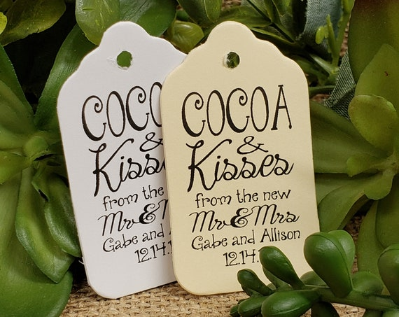 "Cocoa and Kisses from new the Mr and Mrs Favor (my SMALL tag) 1 1/8"" x 2"""