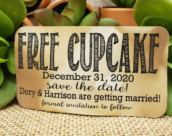 "FREE Cake Save the Date (my RECTANGLE tag) 2"" x 3 1/2"" Tag Personalize with names and  date party favor Cupcake"