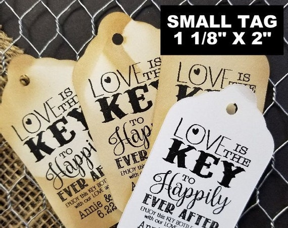 "Love is the Key to Happily Ever After SMALL 2"" Favor Tag Choose your quantity"