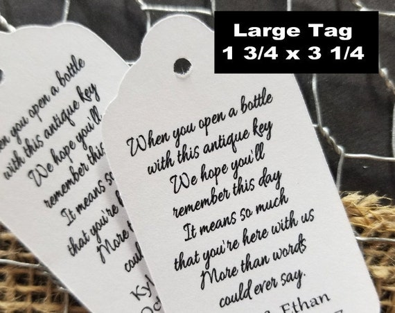 When you Open a Bottle with this Antique Key favor tag LARGE Tags Personalize Choose your Quantity