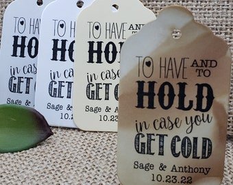2 Personalized To Have Hold Let Love Keep You Warm Wedding Tags Foil Tags Pashmina Shawl Tags Gold Foil Tags Holly Green Blush Burgundy