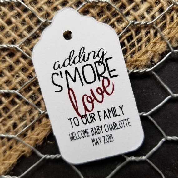 """Adding S'More Love to our Family SMALL 2"""" Favor Tag Choose your quantity"""