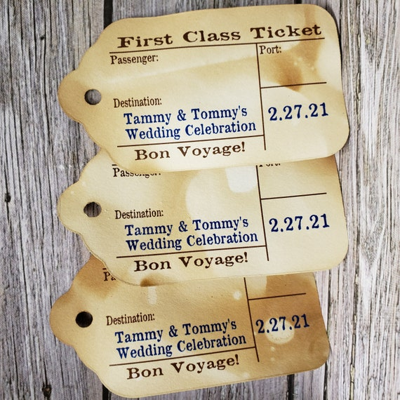 "First Class Travel Stub Luggage Style Souvenir Favor Tags (my LARGE tag) 1 3/4"" x 3 1/4 inches TiaZoey Tea Stained"