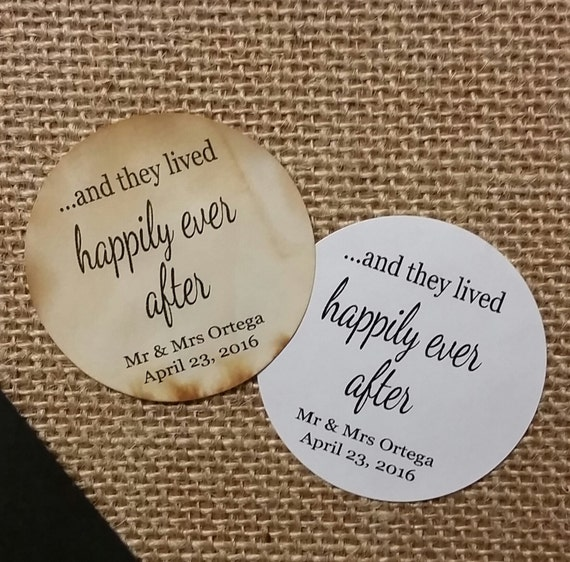 "Happily Ever After 2"" STICKER Personalized Wedding Engagement Shower Favor STICKER"
