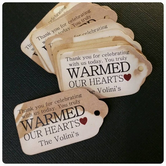 "Thank you for Celebrating with us Today Warmed our Hearts (my MEDIUM Tags) 1 3/8"" x 2 1/2"" Personalize Choose your Quantity"