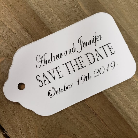 """Save the Date personalized wedding shower engagement card favor (my LARGE tag) 1 3/4"""" x 3 1/4"""""""