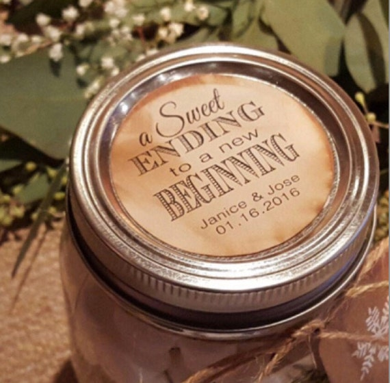 """Sweet Ending to a new Beginning Personalized Wedding Shower Favor 2"""" STICKER click the drop down for quantity choices"""