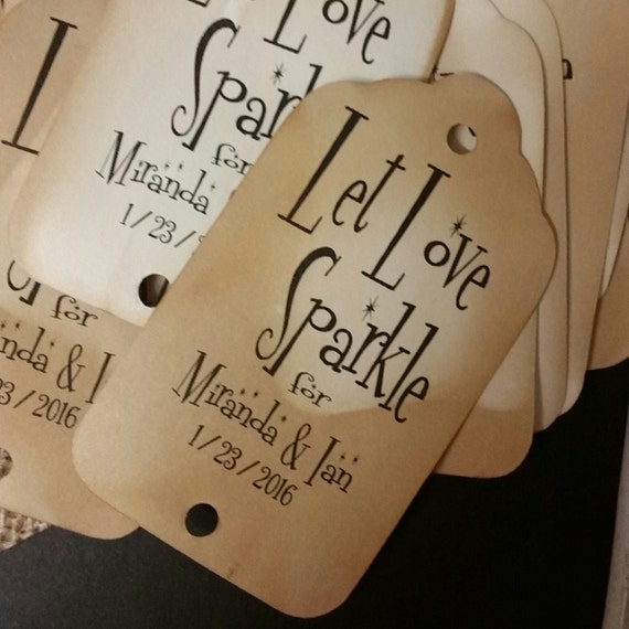 "Let Love Sparkle Personalize tag with names and date (my LARGE tag) 1 3/4"" x 3 1/4""  souvenir favor party tag"