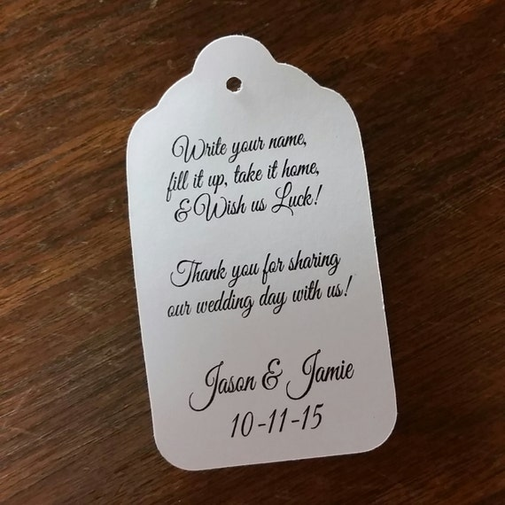 Write your name Fill it up Take it home Personalized Wedding Drink Tag Fill It Up favor tags