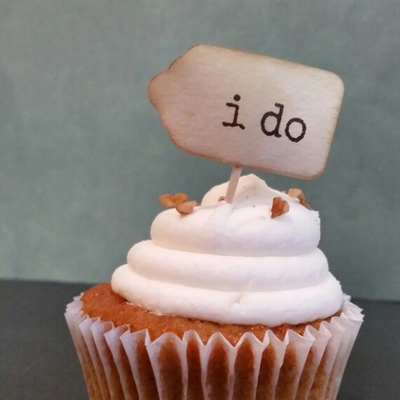 50 i do tag SMALL favor tag 7/8 x 1 5/8 BROWN INK cupcake pick tag not attached to toothpick