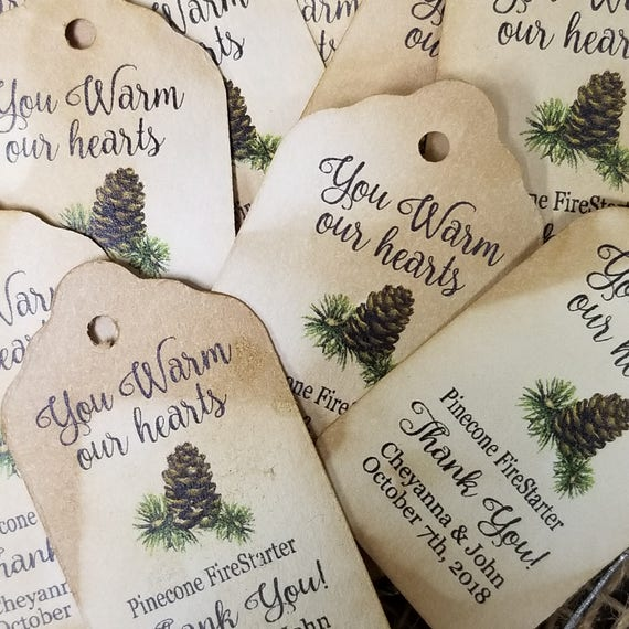 "You WARM our Hearts Pinecone Fire Starter favor tag Choose your quantity SMALL 2"" Favor Tag (an Actual pine cone for the tag NOT included)"