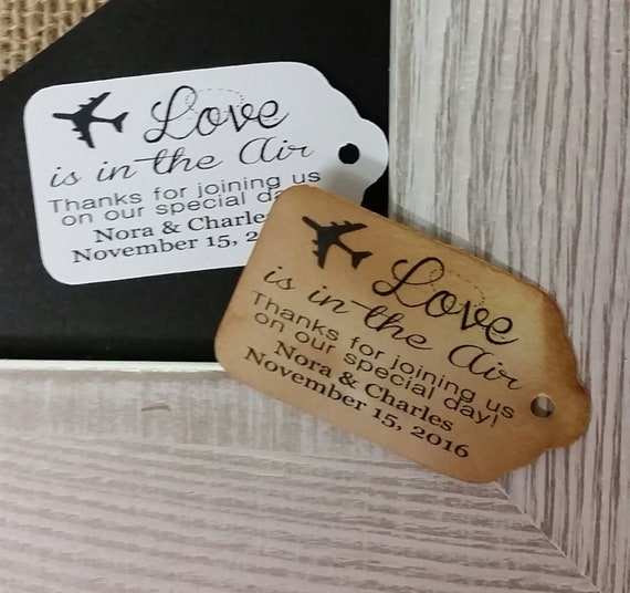 "Love is in the Air Thanks for joining us on our special day 1 3/8"" x 2 1/2 "" (my MEDIUM tag) Personalized Wedding Favor Tag"