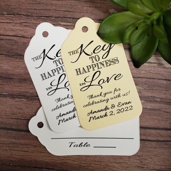 Key to happiness is Love Thank you for celebrating with us Double sided Tag with table number line on the back (my LARGE tag 3 1/4 x 1 3/4)