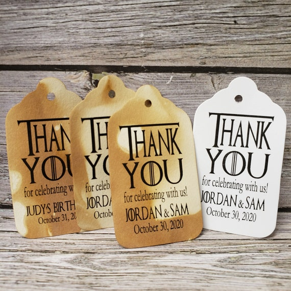 "Thank you for Celebrating with us (my MEDIUM tag) 1 3/8"" x 2 1/2"" Wedding Engagement Shower Souvenir Favor Tag choose your amount"