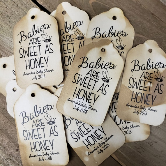 """Babies are Sweet as Honey (my MEDIUM tag) 1 3/8"""" x 2 1/2"""" Personalized Shower Baby Favor Tag"""