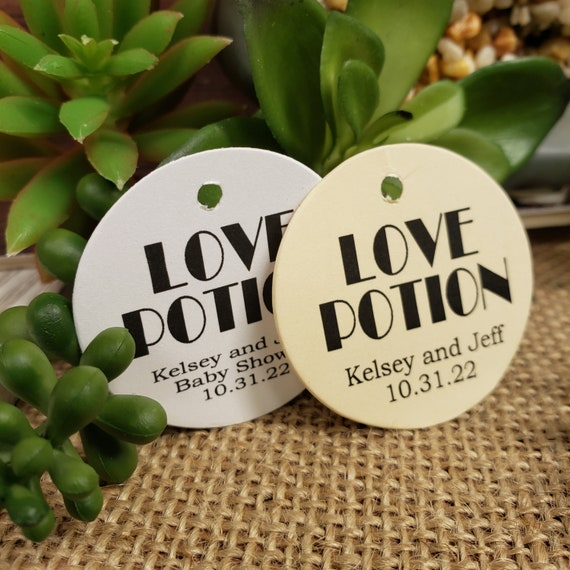 "LOVE Potion Personalized 1.5"" ROUND  card stock tag Wedding Engagement Anniversary Baby Shower Groom Dinner Keepsake souvenir Favor tag card"