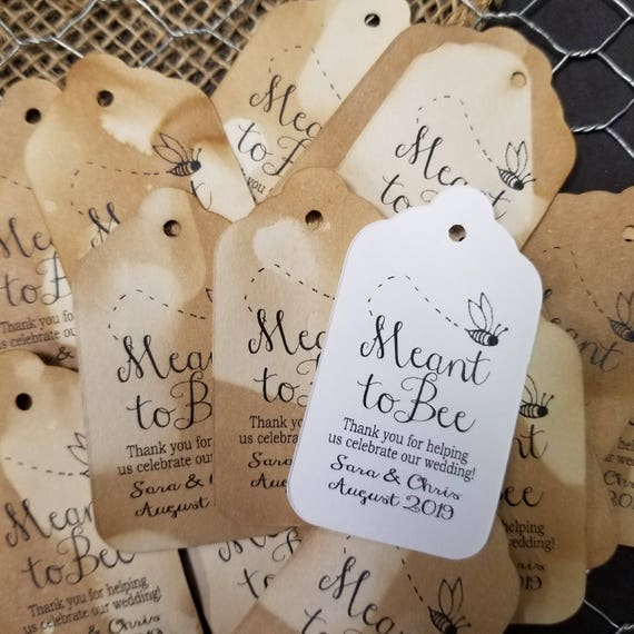 """Meant to Bee (my MEDIUM Tag) 1 3/8"""" x 2 1/2"""" Personalize with names and date Choose your Quantity MEDIUM"""