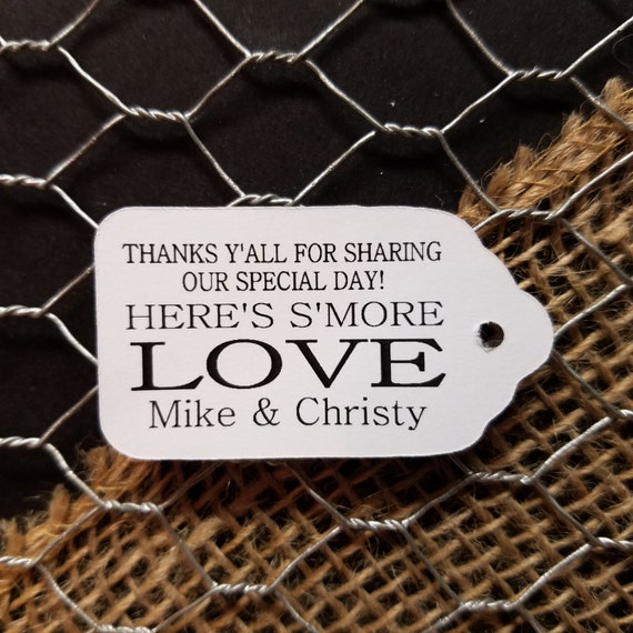"""Smore Love Thank yall Thank y'all Choose your quantity SMALL 2"""" Favor Tag"""