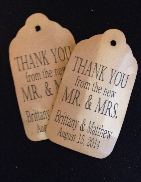 Thank you from the new Mr and Mrs MEDIUM Personalized Wedding Favor Tag  choose your amount
