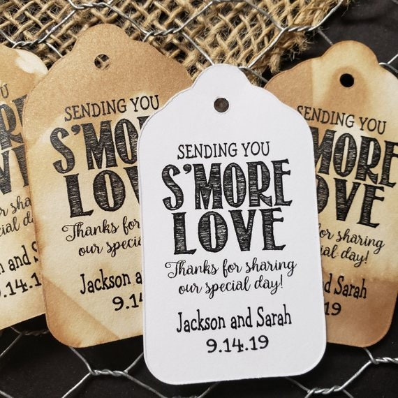 Sending You Smore Love Thanks for Sharing our Special Day LARGE 3 1/4 x 1 3/4 Tags Personalized Wedding Favor Tag S'more Love