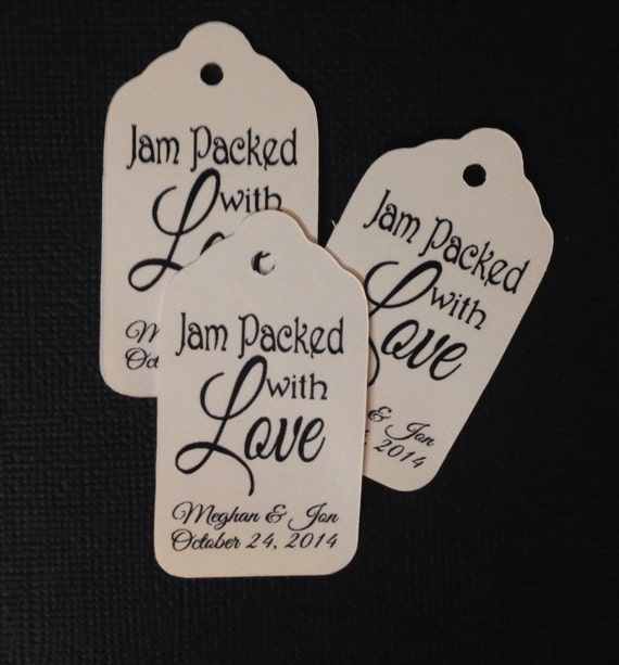 """Jam Packed with Love 100 SMALL Personalized Favor 2""""  Tag"""