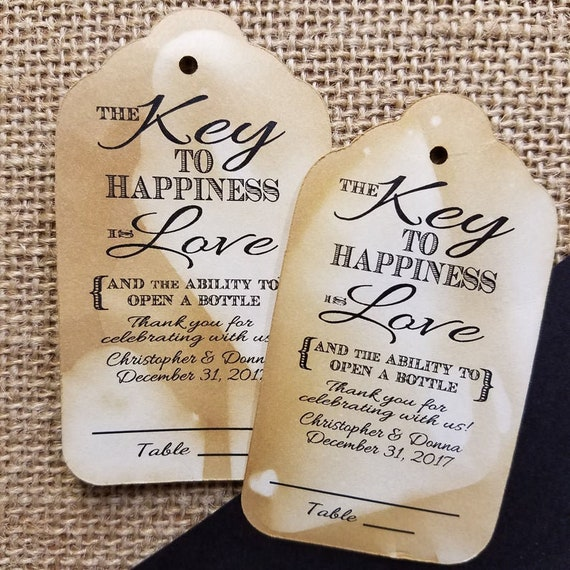 "Key to happiness is Love (my LARGER LARGE tag) 2 1/8"" x 3 3/4"" Tag Thank you for celebrating with us lines for guest name and table number"