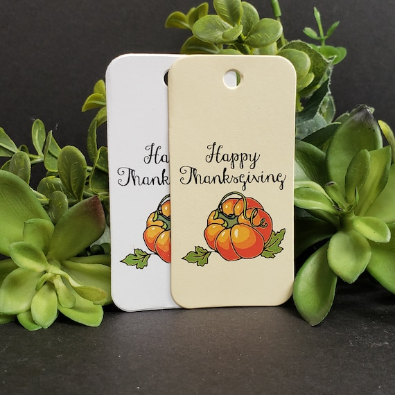 "Happy Thanksgiving RECTANGLE 1.5"" x 3"" Give Thanks Happy Holiday Favor Tag Non-personalized"