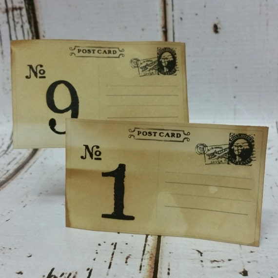 Post Card style 3 x 5 Table Number Cards Seat Placement Cards Tea Stained or White Card Stock