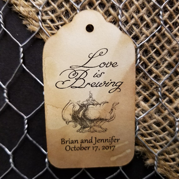 Love is Brewing bridal shower tag baby shower tag MEDIUM Personalized Wedding Favor Tag
