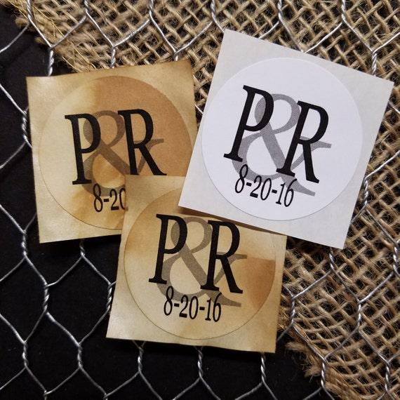 "Monogram Sticker 1.5"" STICKER Personalized Wedding Engagement Shower Favor STICKER choose your amount sold in sets of 20 STICKERS"