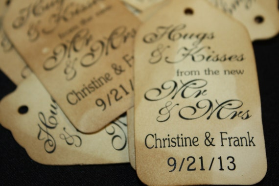 Script Hugs and Kisses Personalized Wedding Favor Tag  choose your amount