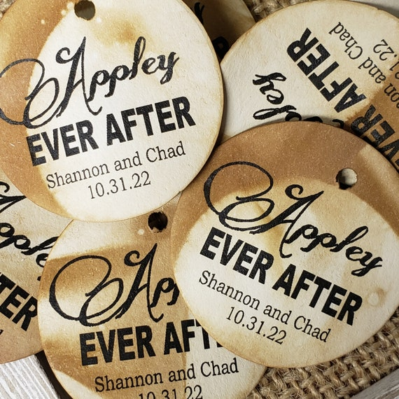Appley Ever After Personalized 1.5inch ROUND tag choose your amount Wedding Keepsake souvenir Favor tag card