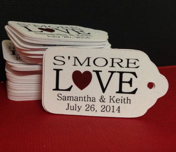 "Smore Love Choose your quantity SMALL 2"" Favor Tag"