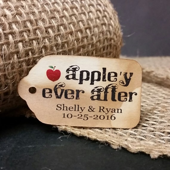"Appley Ever After SMALL 2"" Favor Tag Choose your quantity Happily ever after"