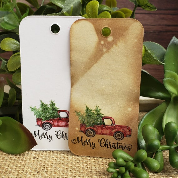 "Merry Christmas RECTANGLE 1.5"" x 3"" Merry Christmas Happy Holiday Favor Tag Non-personalized"