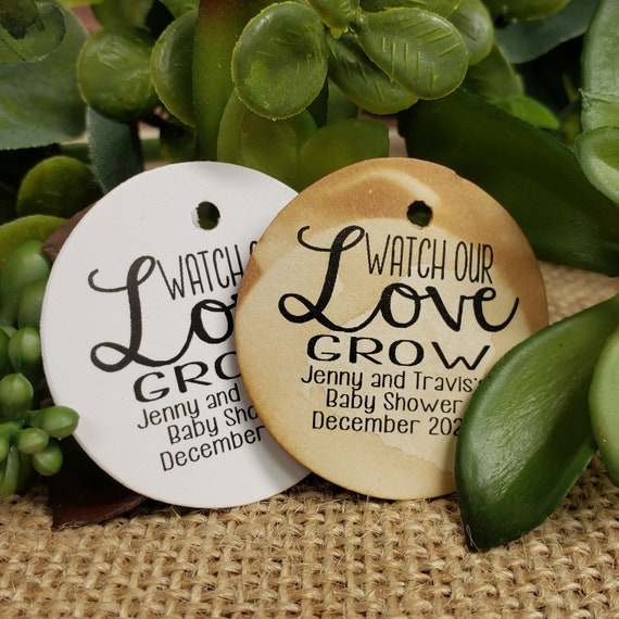 Watch Our Love Grow Personalized 1.5 inch ROUND tag choose your amount Wedding Baby shower Keepsake souvenir Favor tag card