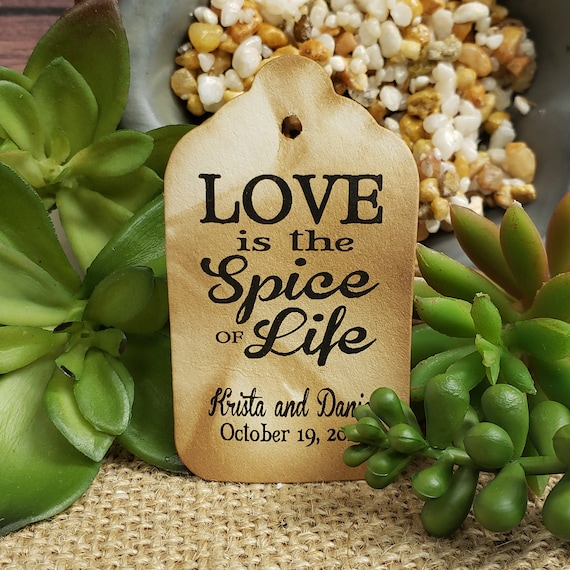 "Love is the Spice of Life (my SMALL tag) 1 1/8"" x 2"" Personalized Favor Tags Thank you keepsake Favor"