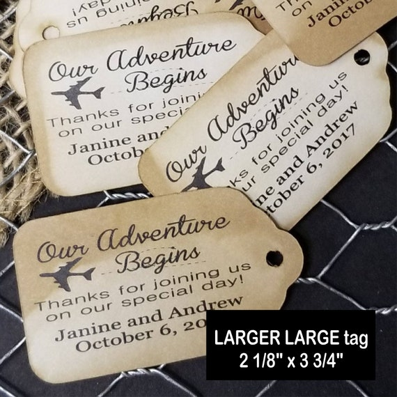 "Love is in the Air Travel Theme (my LARGER LARGE tag) 2 1/8"" x 3 3/4"" Tag Personalize with names or event and date"