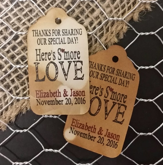Smore Love Thanks for sharing our special day Heres Smore Love MEDIUM Personalized Wedding Favor Tag  choose your amount