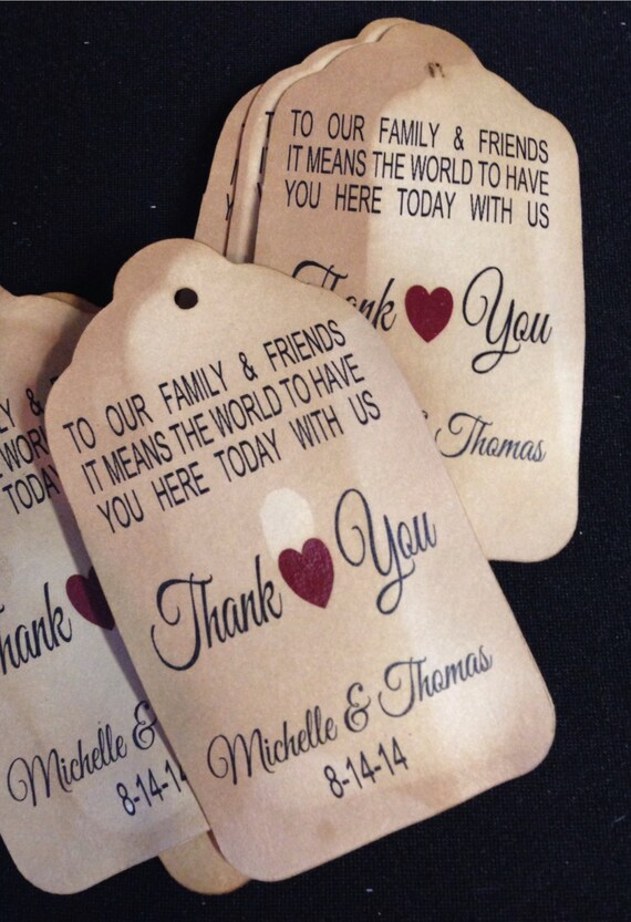 Family and Friends Thank You LARGE 3 1/4 x 1 3/4 Tags Personanlized To Our Family and Friends