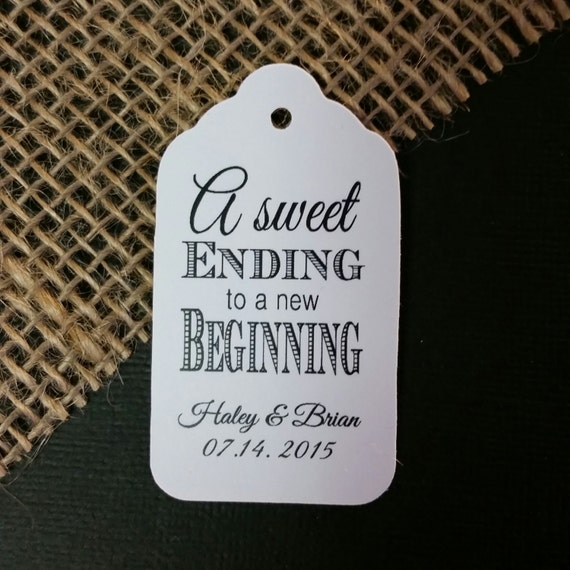 Sweet Ending to a new Beginning Thank You favor tag MEDIUM Personalized Wedding Favor Tag CHOOSE your amount