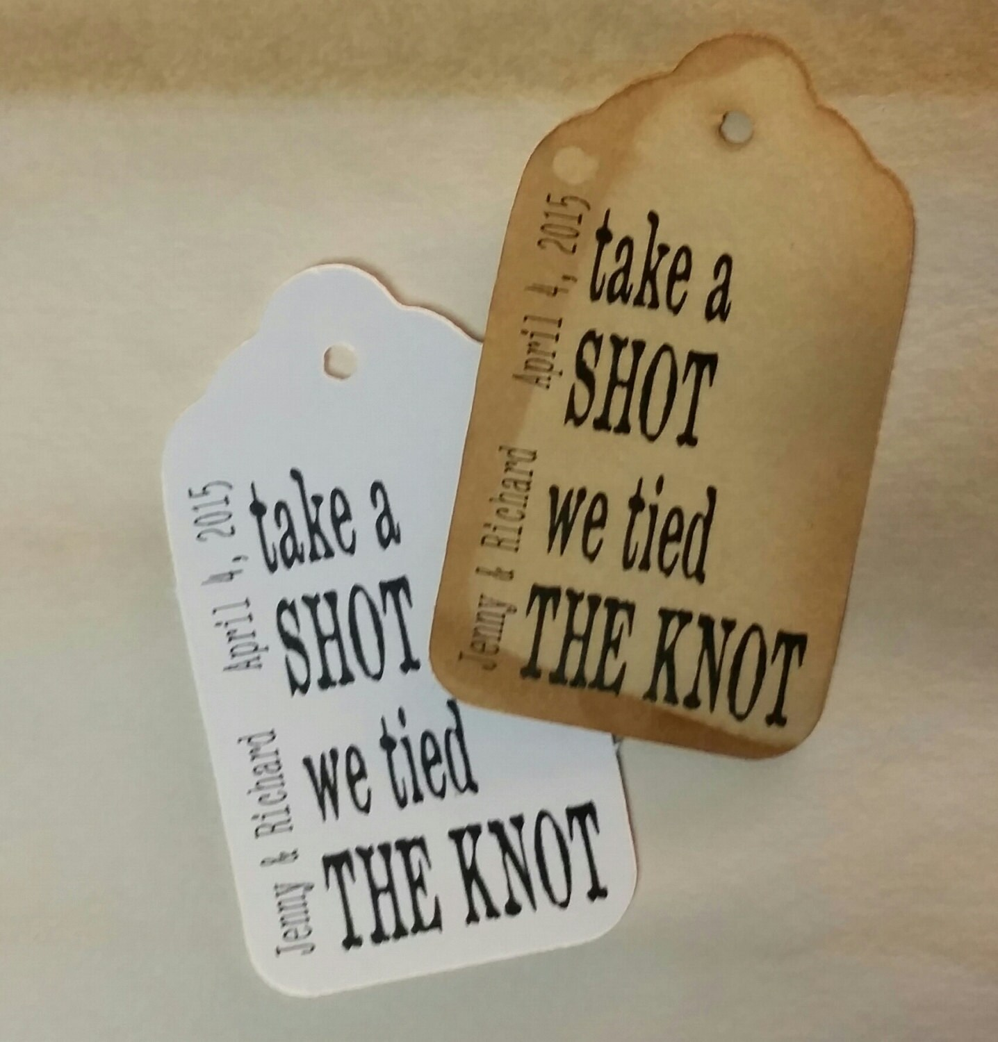 Take A Shot We Tied The Knot Medium Personalized Wedding Favor Tag