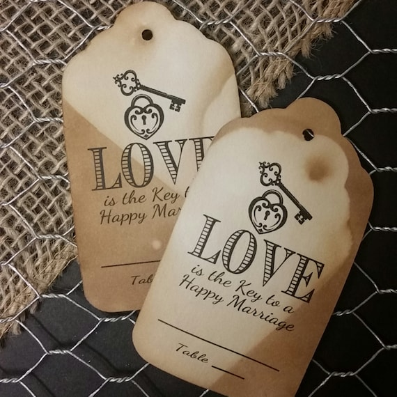 Love is the Key to a Happy Marriage Large Tags Guest Tags with table number line Choose your Quantity