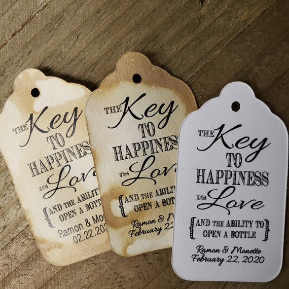 "Key to Happiness is Love Bottle opener favor tag (my MEDIUM Tag) 1 3/8"" x 2 1/2"" Personalize with names and date Choose your Quantity MEDIUM"
