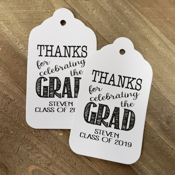 "Thanks for Celebrating the Grad (my MEDIUM tag) 1 3/8"" x 2 1/2"" Personalized Graduation class of Favor Tag TiaZoey Tea Stained Thank you"