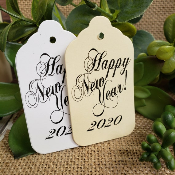 "Happy New Year (my MEDIUM tag) 1 3/8"" x 2 1/2"" New Years Eve, New Year, Happy Holiday Favor Tag Non-personalized 2020"