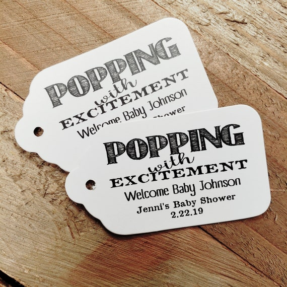 """Popping with Excitement Welcome Baby (my MEDIUM tag) 1 3/8"""" x 2 1/2"""" Personalized Shower Favor Tag choose your amount"""