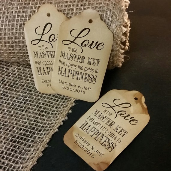 """Love is the Master Key (my Large Tags) 1 3/4"""" x 3 1/4"""" Personalize with names and date Choose your Quantity"""