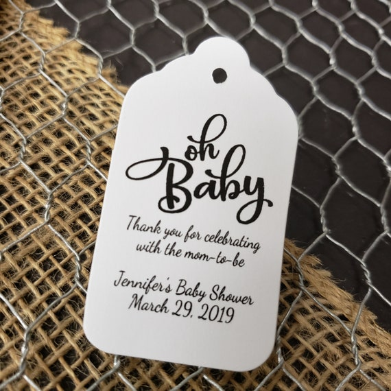 "Oh Baby Thank you for celebrating favor tag MEDIUM Tags Personalize (my MEDIUM tag) 1 3/8"" x 2 1/2"" Mom to be Parents to be Baby Shower"